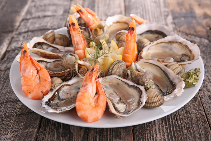Seafood platter. On wood background royalty free stock images