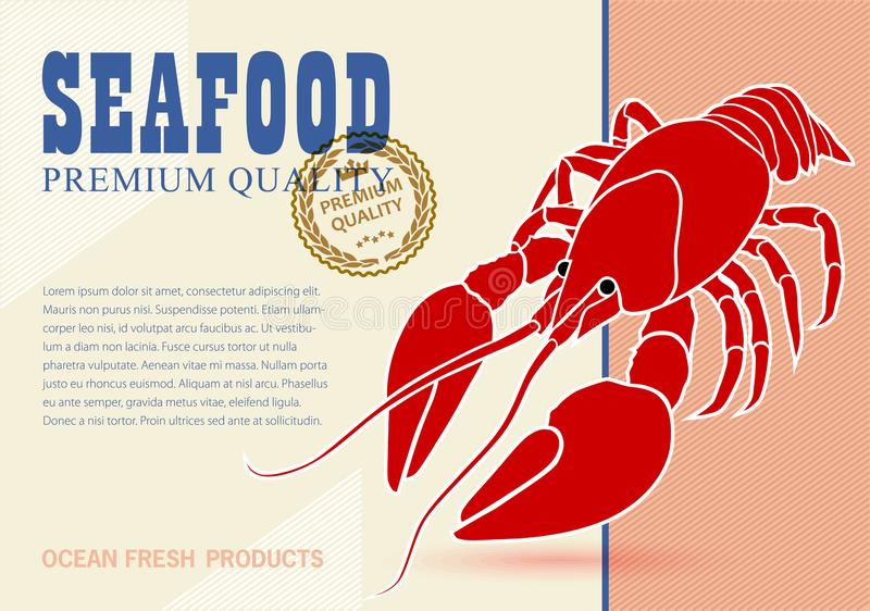 Seafood print advertising template. vector illustration