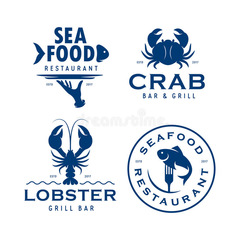 Seafood related labels badges emblems set. Vector vintage illustration. royalty free illustration