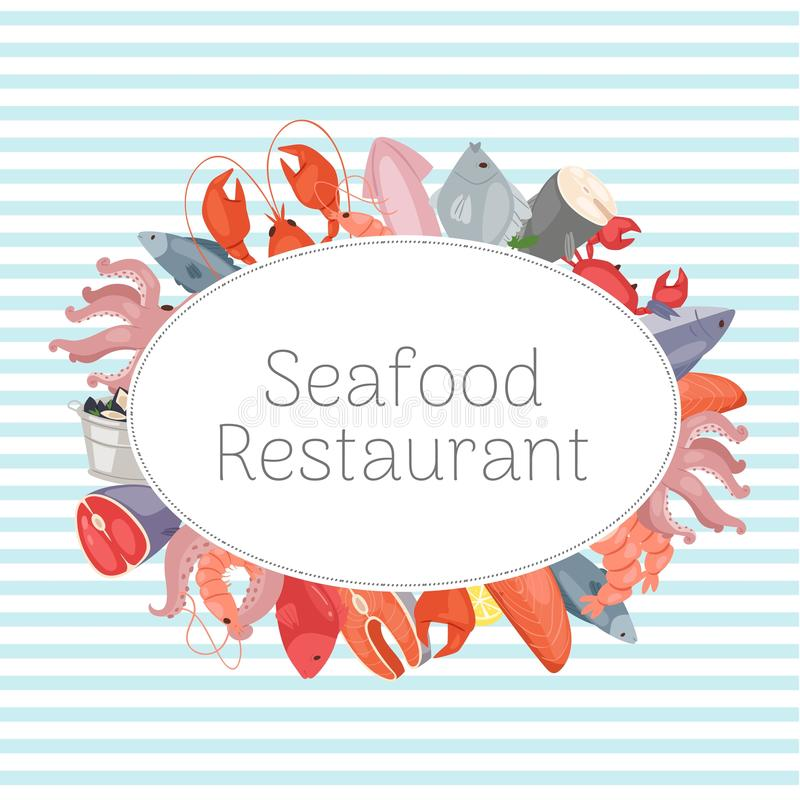 Seafood restaurant banner, poster vector illustration. Fish salmon steak with lemon, shrimp, squid, octopus, lobster royalty free illustration