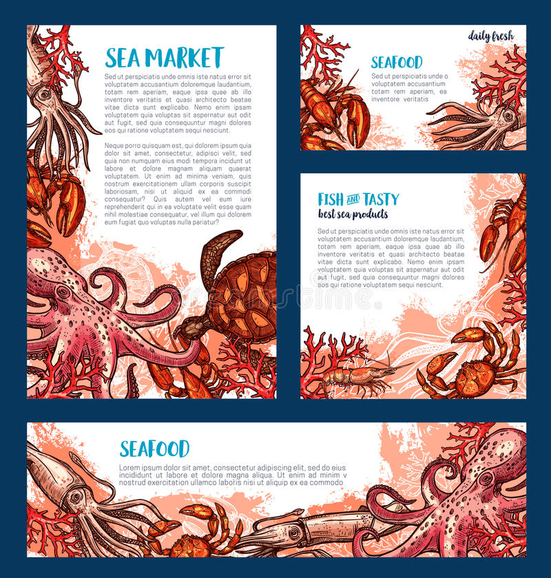 Download Seafood Restaurant And Fish Market Banner Template Stock Vector