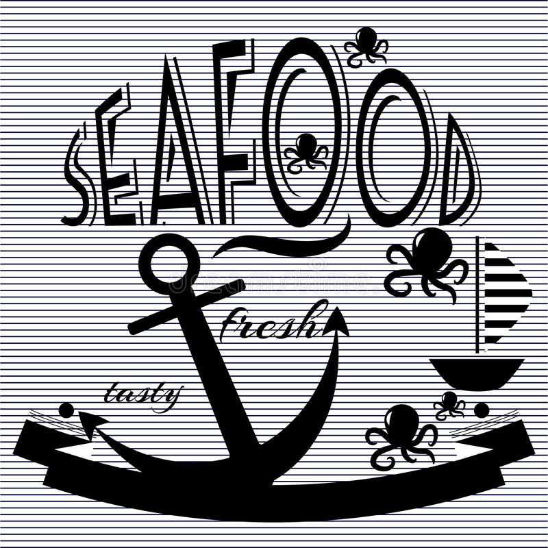 Seafood restaurant food fish vector royalty free stock photography