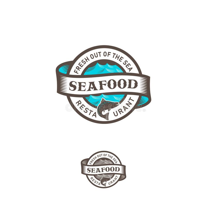 Seafood restaurant logo. Blue sea with waves, ribbon, fish and lettering in a circle. Seafood restaurant logo. Blue sea with waves, ribbon and lettering in a vector illustration