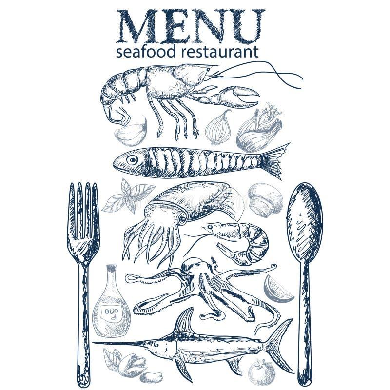 Seafood restaurant menu vector illustration