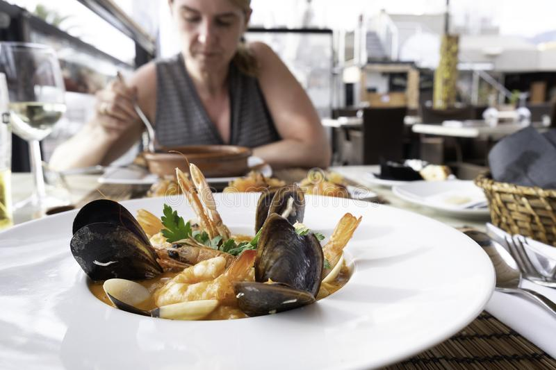 Seafood dinner at a fine restaurant stock image
