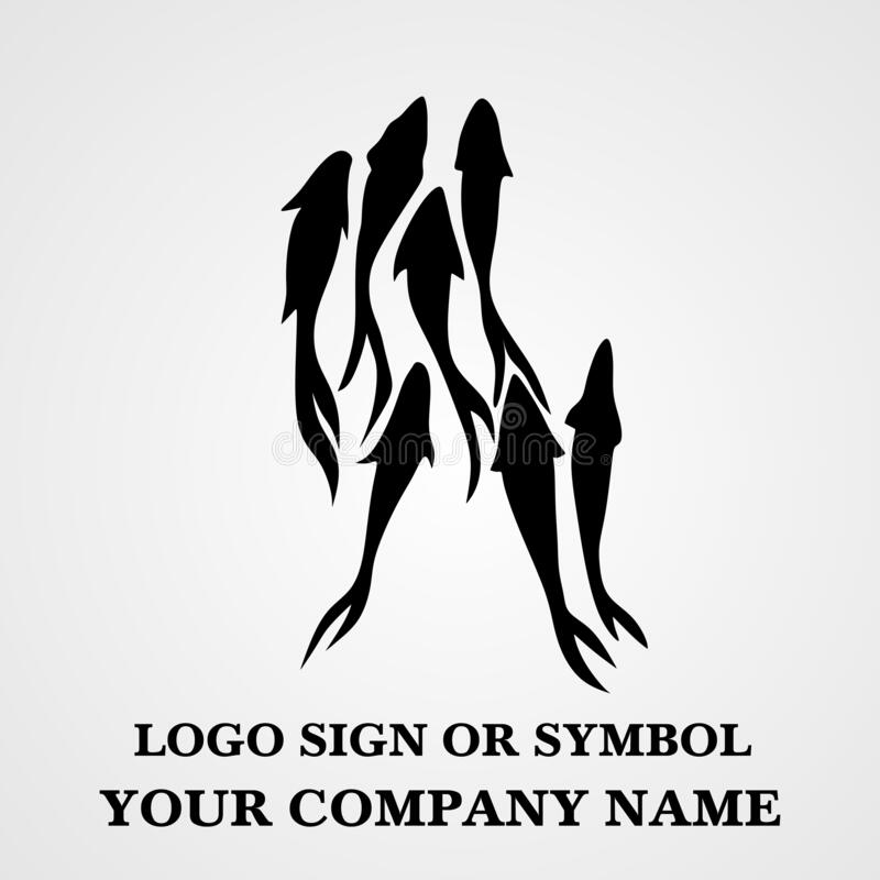 Seafood restaurant symbol, icon sign and logo. Fish vector illustrations for bistro or seaside inn. Great view for fish business. royalty free stock photo