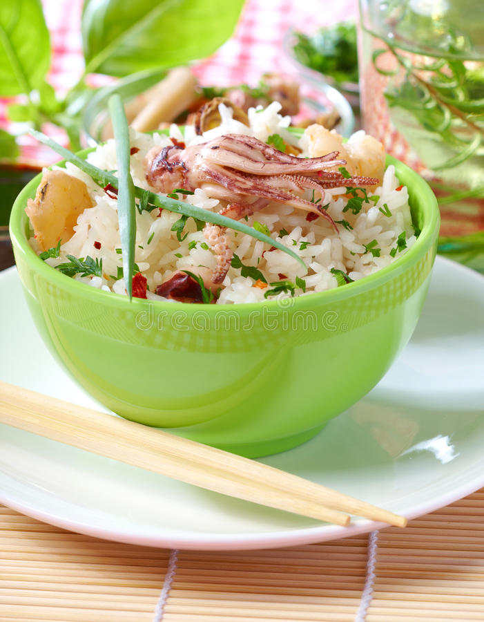 Seafood and rice stock images