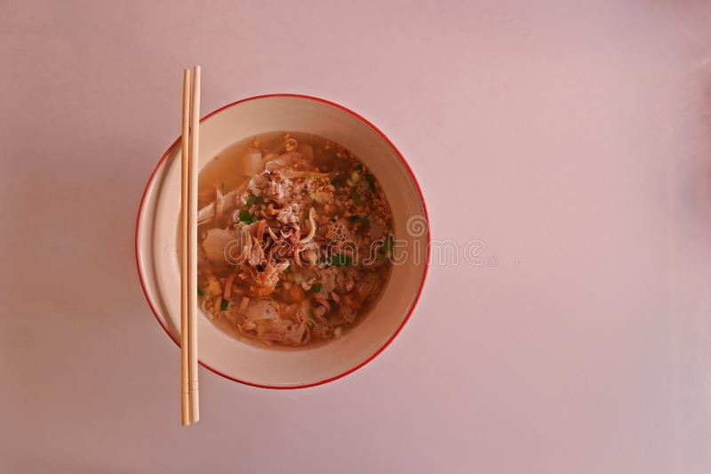 Seafood rice noodle soup, quick and easy food royalty free stock images