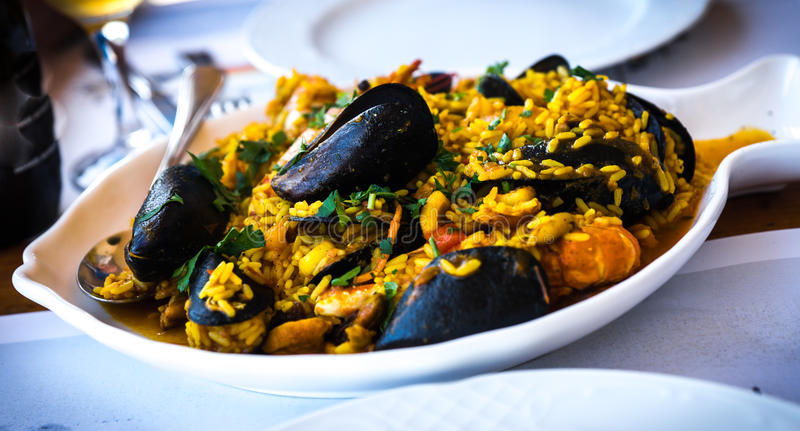 Seafood risotto with mussels and shrimp, Greece. Image of seafood risotto with mussels and shrimp, Greece royalty free stock photo