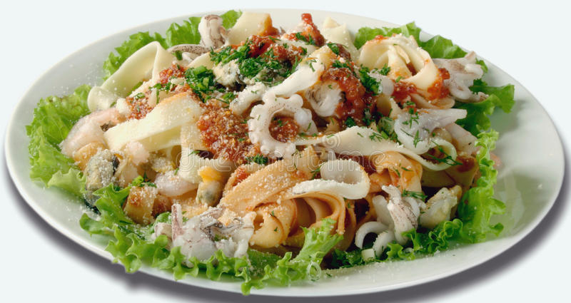 Seafood Salad. With squid and octopus royalty free stock image