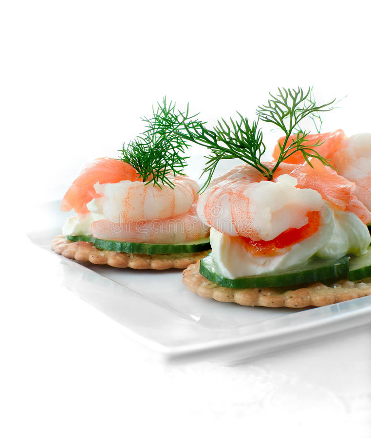 Seafood salad canapes stock image image of crayfish for Smoked salmon cream cheese canape