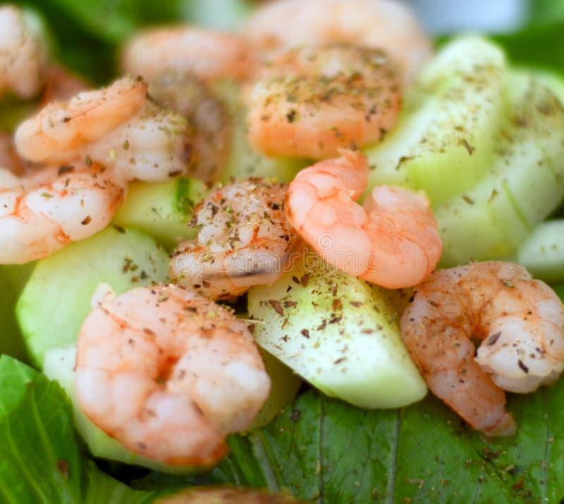 Seafood salad closeup stock images
