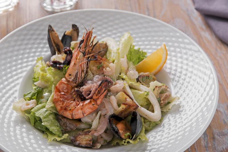 Seafood salad shrimp squid octopus mussel. A royalty free stock image