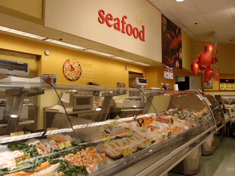 Seafood Section At Supermarket Editorial Photo - Image of ...