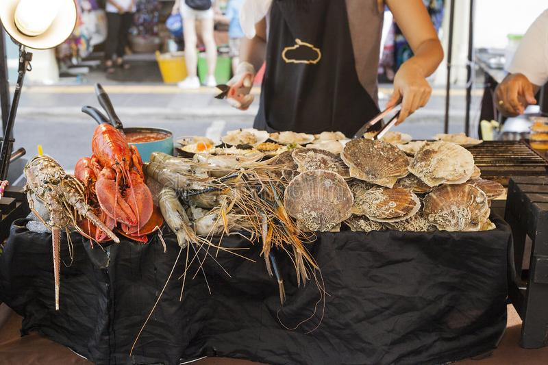Seafood selling on street market in Phuket, Thailand stock images