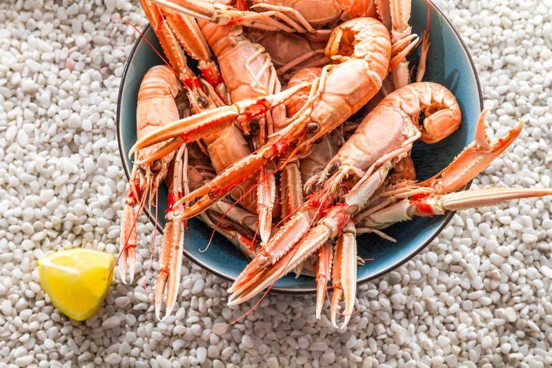Seafood served stock image