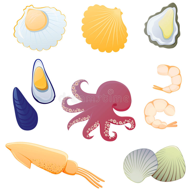 Download Seafood set. stock vector. Image of octopus, clip, shellfish - 15551399