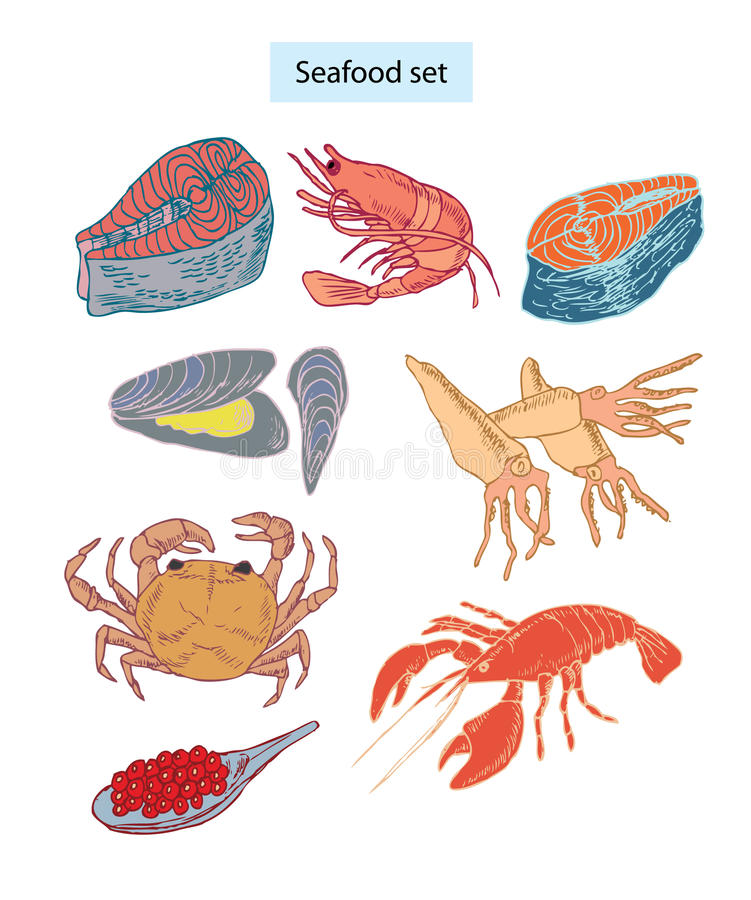 Seafood  Set Hand Drawn Illustrations Royalty Free Stock Photo