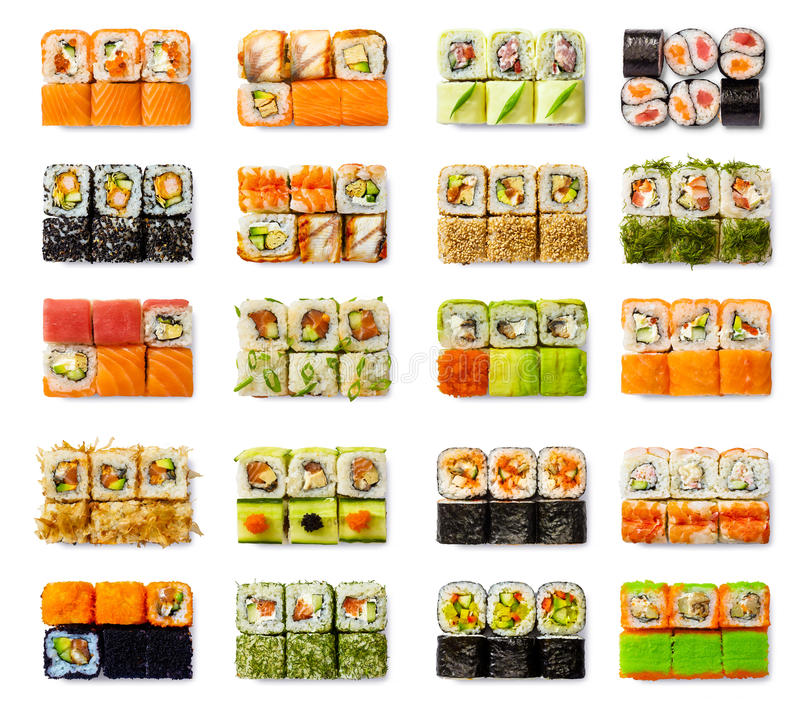 Seafood set - isolated rolls on white background stock images