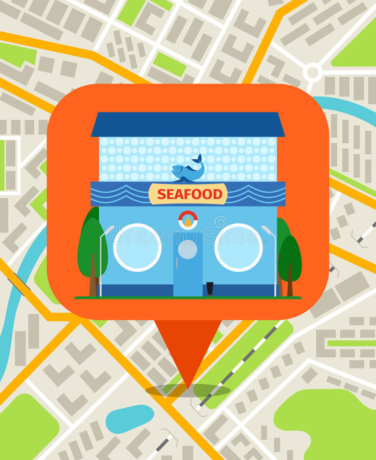 Seafood shop pin on map vector illustration