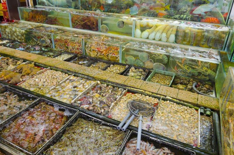 Seafood shop in Sai Kung,Hong Kong. A large variety of fish and seafood on display at a shop in Sai Kung, Hong Kong royalty free stock photography