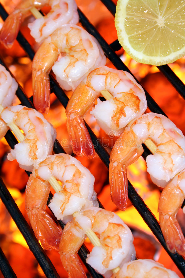 Seafood shrimp skewers on a hot barbecue grill. Seafood shrimp skewers on a fire hot barbecue grill. Barbecue & Outdoor Cooking Collection royalty free stock photos