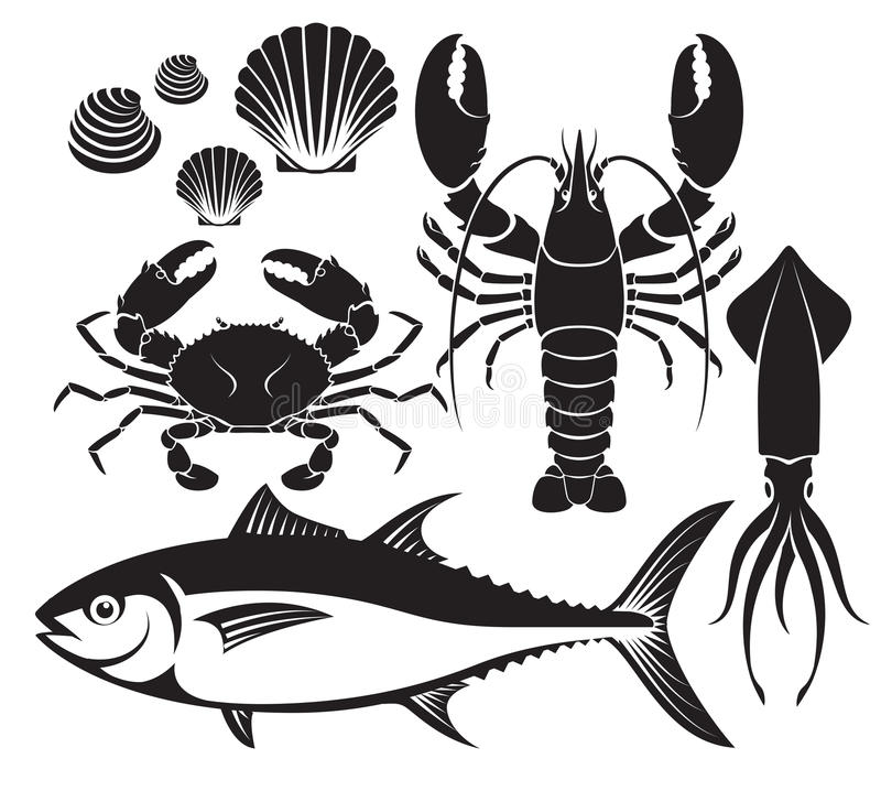 Seafood silhouette set. Lobster prawn, crab, tuna fish, shellfish and squid. Vector Illustrations. royalty free illustration