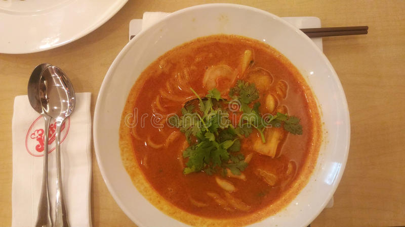 Seafood soup in bowl royalty free stock images