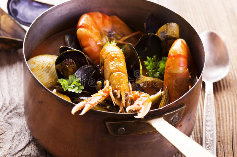Seafood Soup in Casserole royalty free stock photos