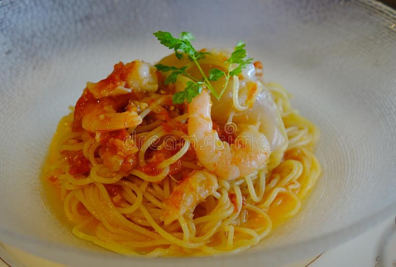 Seafood spaghetti for lunch stock photos