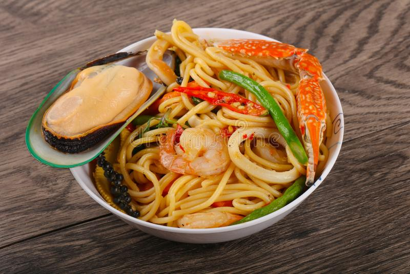 Seafood spaghetti stock images