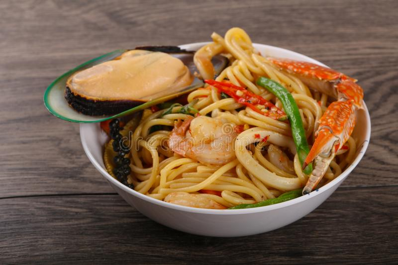 Seafood spaghetti royalty free stock photography