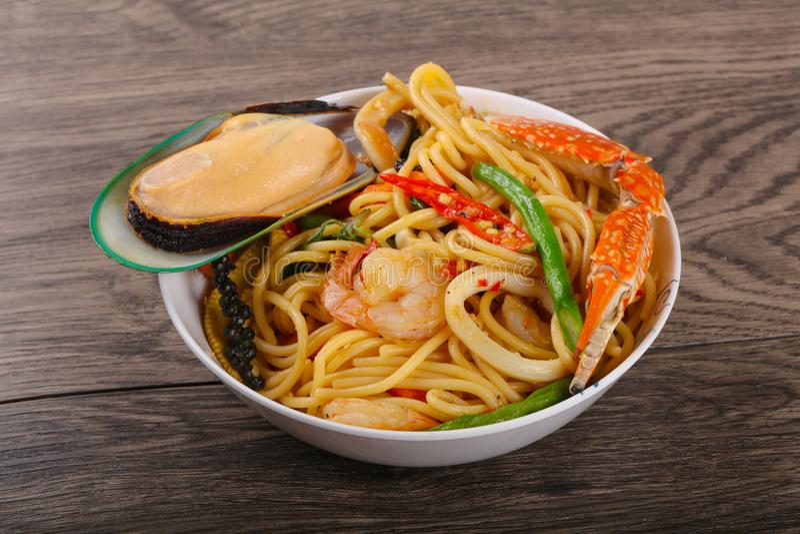Seafood spaghetti stock photos