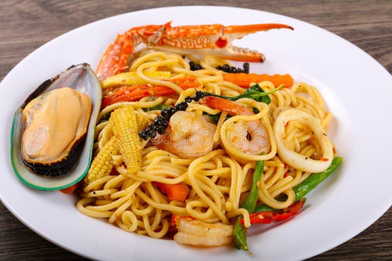 Seafood spaghetti stock photo