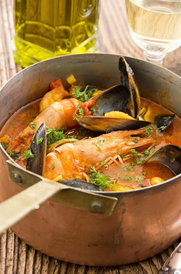 Seafood Stew in Casserole stock photo