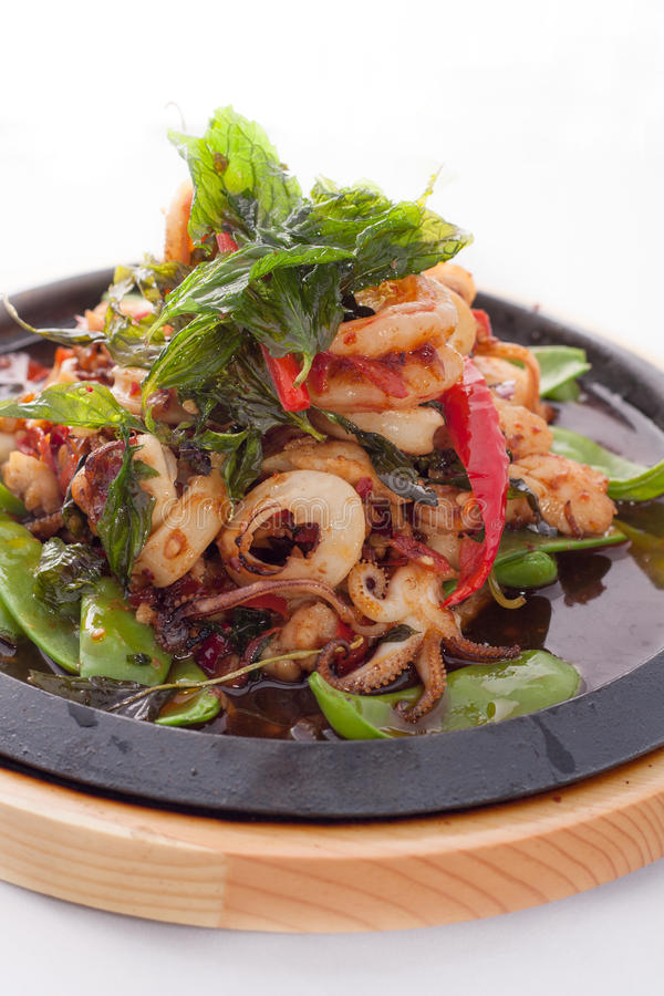 Seafood stir fried with Thai herb. royalty free stock images