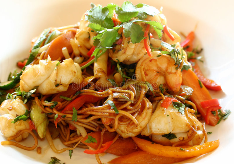 Seafood Stir Fry royalty free stock images