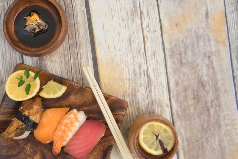 Seafood suhi with Copy Space royalty free stock photography
