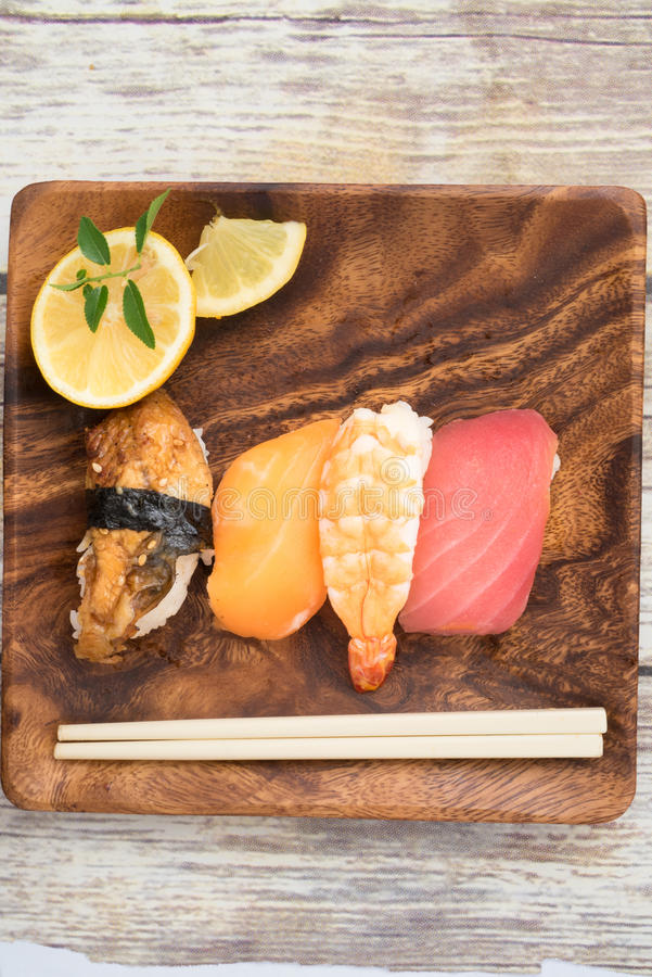 Seafood suhi with Copy Space royalty free stock images
