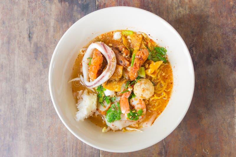 Seafood Tomyam Noodle stock image
