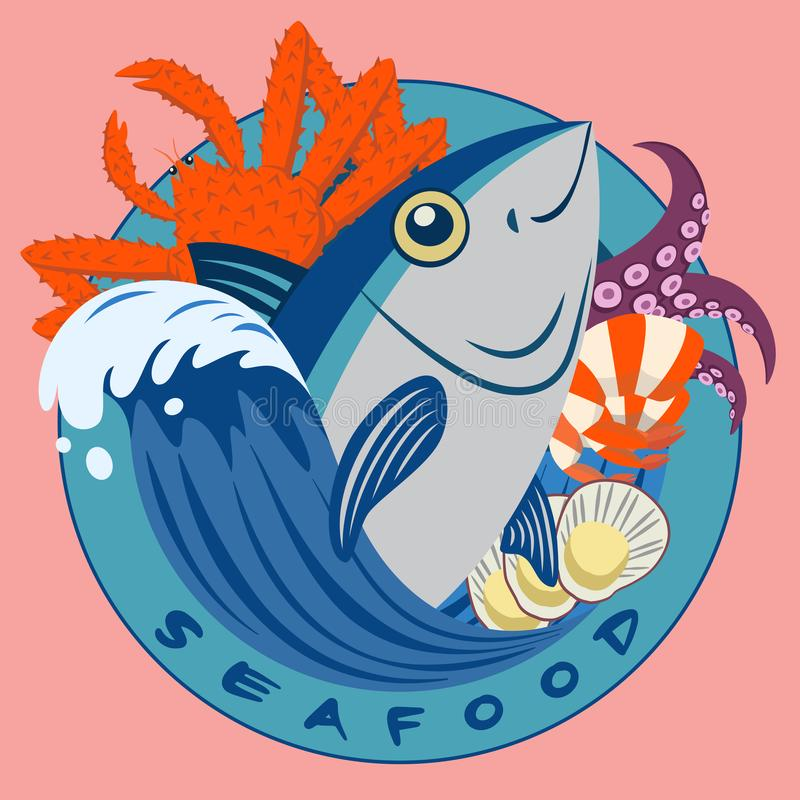 Seafood and Tuna circle logo vector illustration