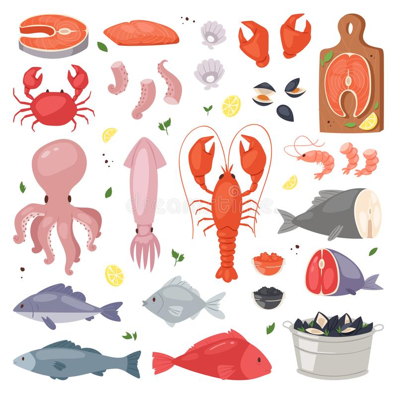 Seafood vector sea fish shellfish and lobster on fishmarket illustration fishery set of salmon prawn for ocean gourmet. Seafood vector sea fish shellfish and royalty free illustration