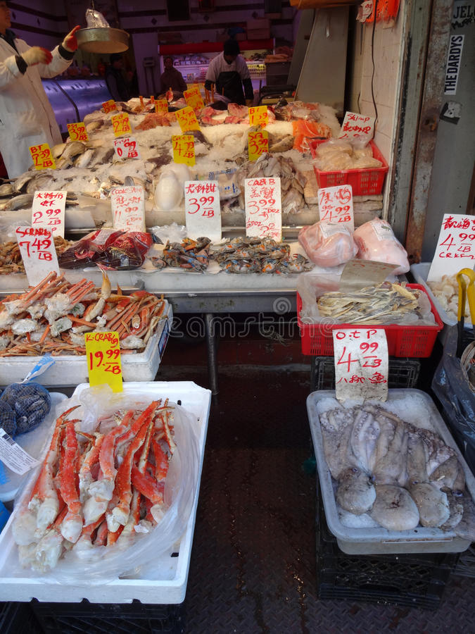 Seafood Vendor In Chinatown In New York City Editorial