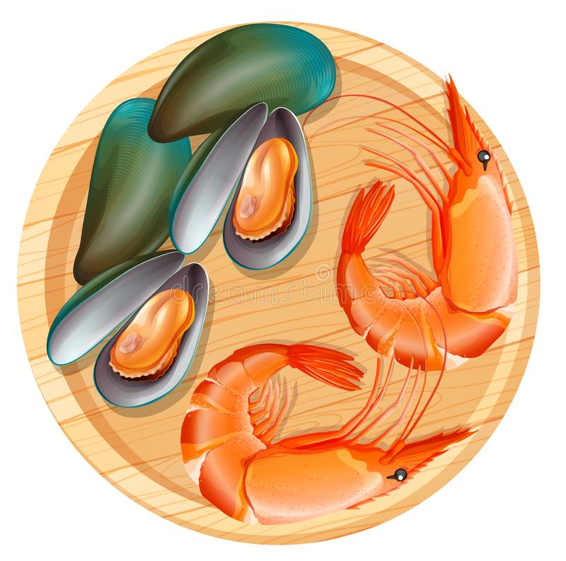 Seafood on wooden plate stock illustration