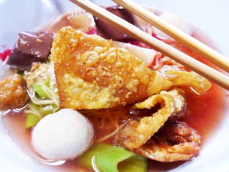 Seafood Yong Tau Foo Rice Noodles With Fishball Royalty Free Stock Image