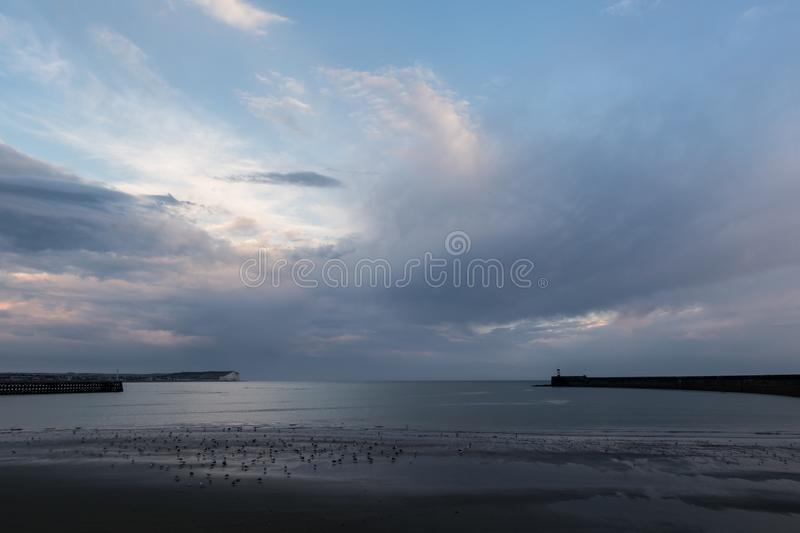 Seaford Head and Newhaven Lighthouse. On July evening, with birds on beach at low tide and heavy clouds in blue sky royalty free stock photography