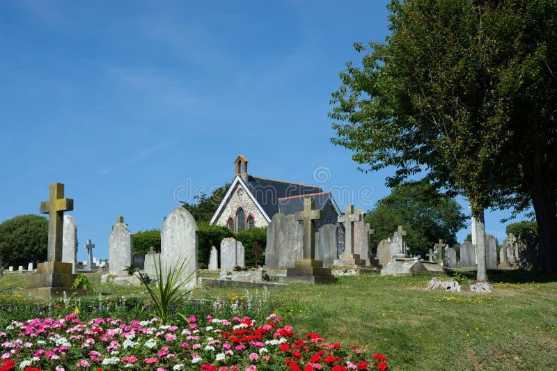 Seaford kapell & kyrkogård, Sussex UK arkivfoton