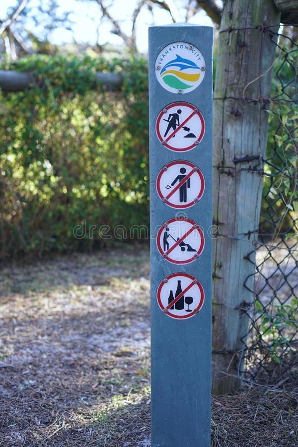 No digging, no littering, no dumping, no alcohol sign stock image