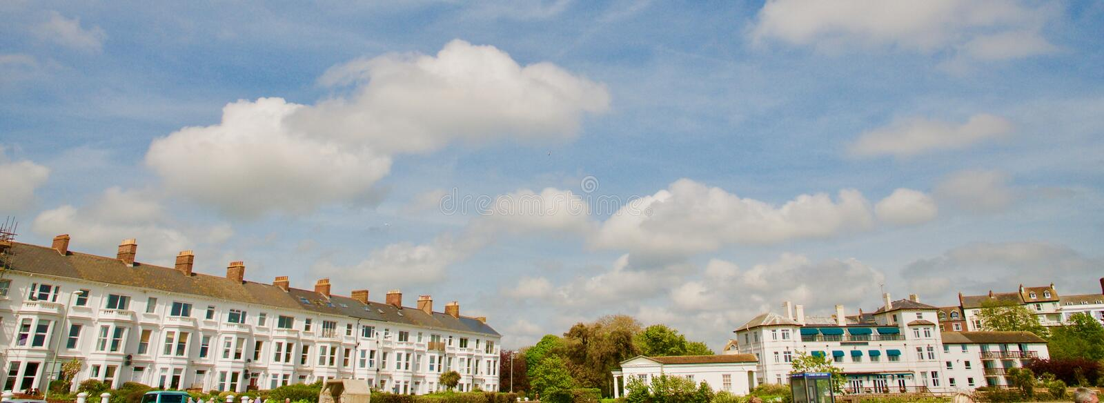 Seafront buildings at Exmouth. Exmouth beach Devon England united kingdom royalty free stock photos