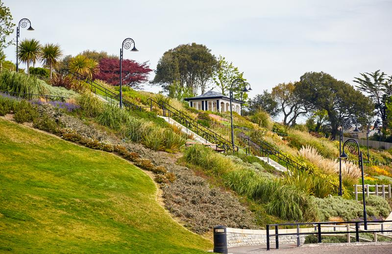 The Seafront gardens of Lyme Regis. West Dorset. England. The pavilion at Seafront gardens (Langmoor and Lister Gardens) in Lyme Regis. West Dorset. England stock photos